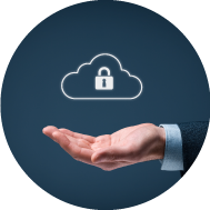 businessman holding a key icon inside a cloud